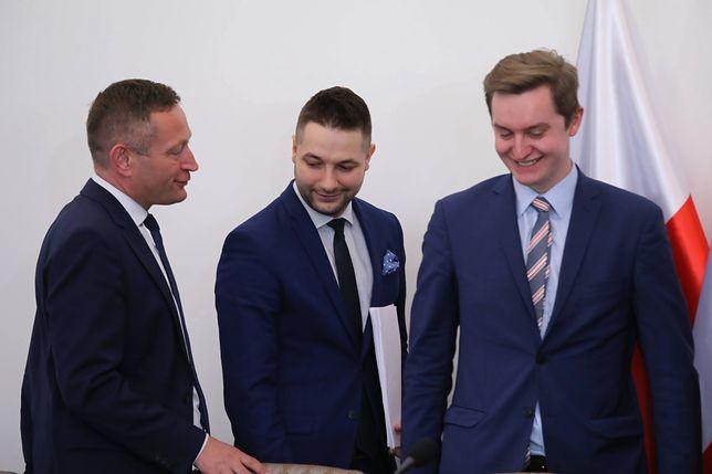 Ministrowie Paweł Rabiej, Patryk Jaki i Sebastian Kaleta