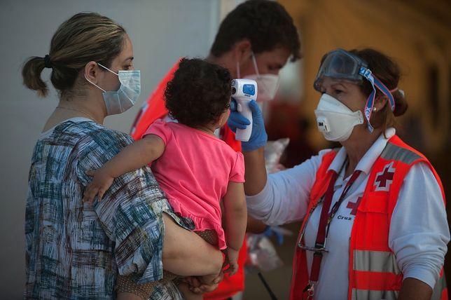 Czerwony Krzyż sprawdza temperaturę wszystkich imigrantów, którzy przybywają na wyspy