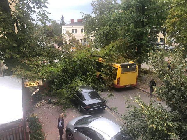 Mazowsze. Straż pożarna interweniowała ponad 100 razy. W Pruszkowie drzewa przewróciło się na autobus, samochód i linię energetyczną