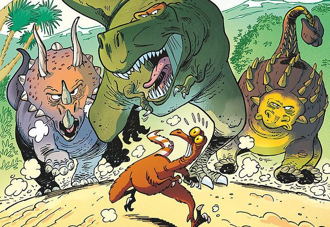 """Dinozaury w komiksie"", scenariusz Arnaud Plumeri, rysunki Bloz"