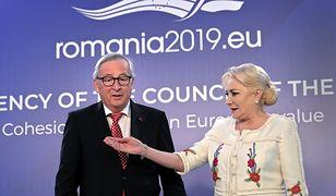 Premier Rumunii Viorica Dancila i przewodniczący Komisji Europejskiej Jean-Claude Junker