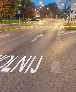 Jaworzno. Namalowane na drodze napisy mają ostrzegać