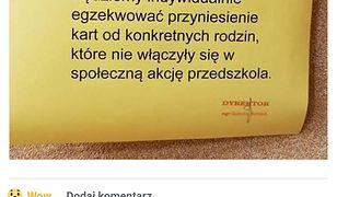 Treść ogłoszenia na tablicy w przedszkolu zbulwersowała część rodziców