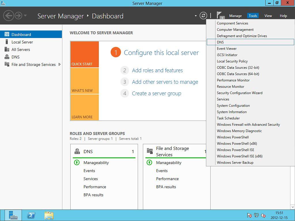 6. DNS - cz. 5 - SPF (Windows Server 2012) - 1. Uruchamiamy Server manager i z menu Tools wybieramy DNS.