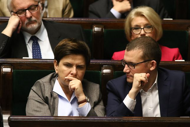 Premier Beata Szydło podczas posiedzenia Sejmu