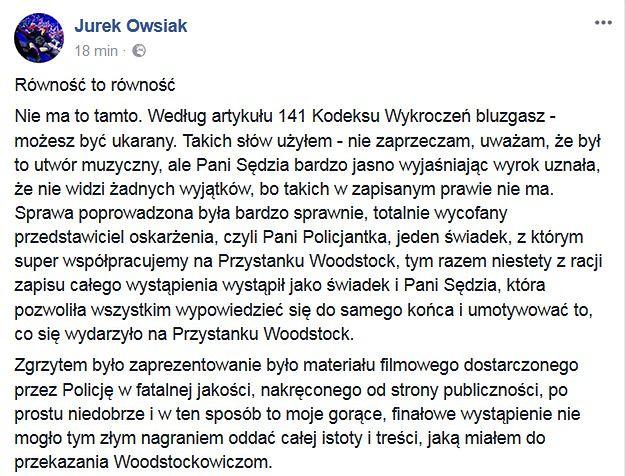 Screen fragmentu oświadczenia Jerzego Owsiaka