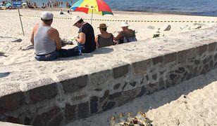 Darłówko. Tuż obok miejsca tragedii plażowicze opalają się i piją piwo