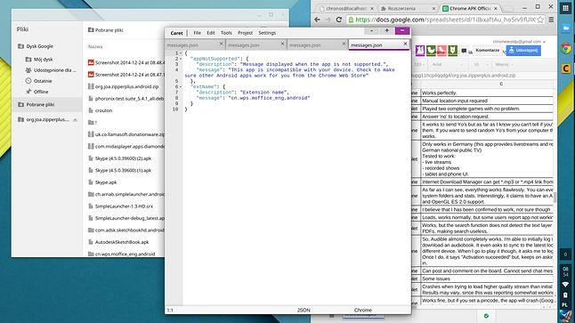 W tle menedżer Pliki i Chrome, na pierwszym planie świetny edytor tekstu Caret