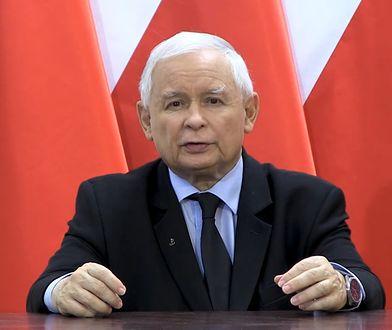 Jarosław Kaczyński podczas wygłaszania oświadczenia po wyroku Trybunału Konstytucyjnego ws. aborcji