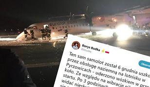 Poseł PO poinformował, że ten sam samolot miał awarię podwozia już miesiąc wcześniej.