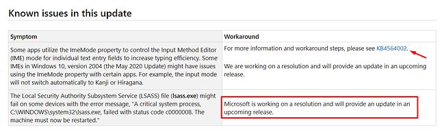 Znane błędy w danej kompilacji Windows 10, źródło: dokumentacja Windows 10, fot. Oskar Ziomek.