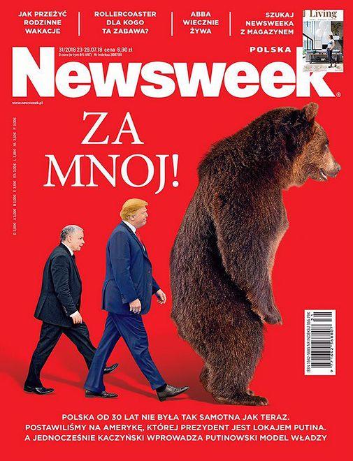 Niedźwiedź będący symbolem Rosji stoi przed Putinem i Kaczyńskim