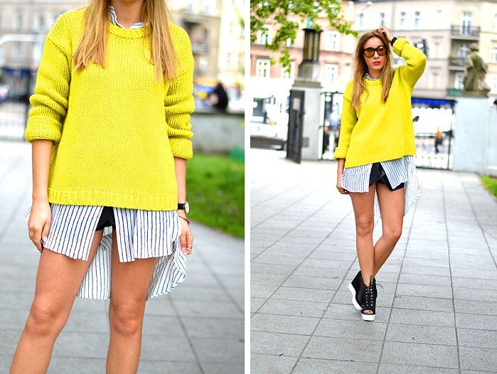 Żółty sweter i koszula maxi