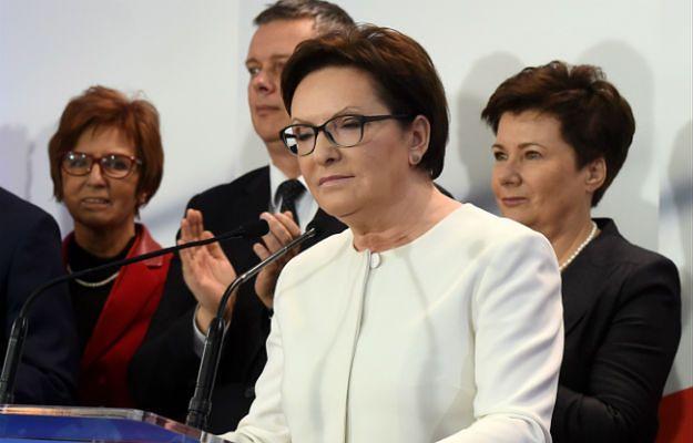 Premier Ewa Kopacz podczas wieczoru wyborczego