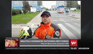 Marcin Borkowski do rannych dojeżdża na skuterze w 4 minuty
