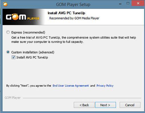Instalacja Gom Playera - zalecana instalacja dodatkowego oprogramowania.