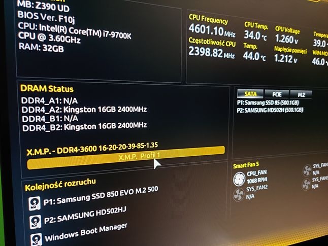 BIOS przed aktualizacją profilu
