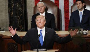 Donald Trump wygłasza orędzie przed połączonymi izbami parlamentu, 30 stycznia 2018 r.