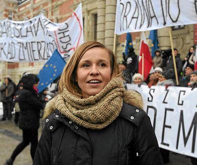 Magdalena Filiks podczas jednego z wieców