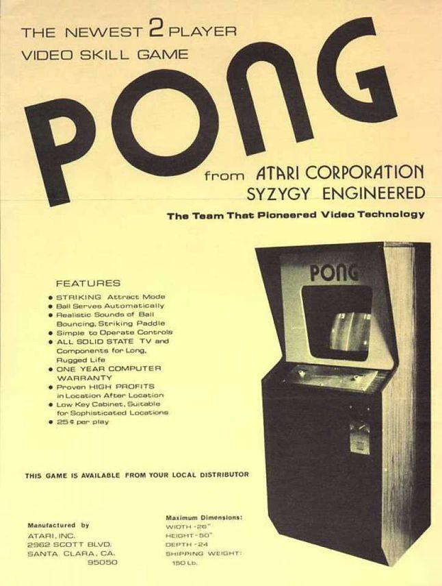 Ulotka automatu Pong.