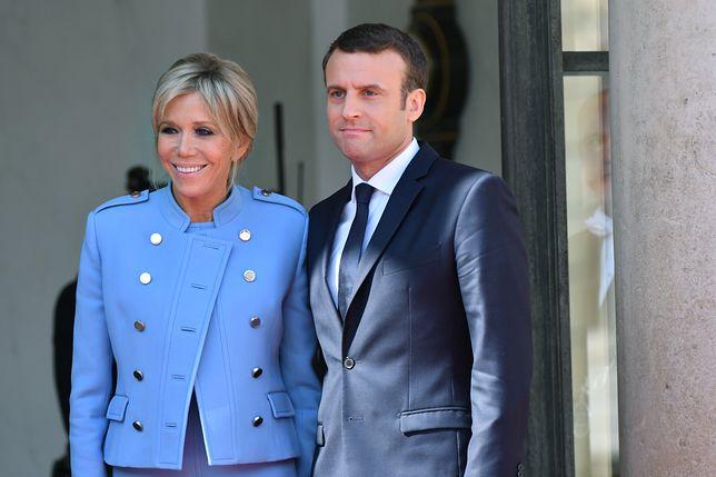 Emmanuel Macron z małożnką.