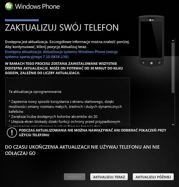 Aktualizacja do Windows Phone 7.8 na prawie 2.5 letnim LG E900 (Optimus 7/ Swift 7)