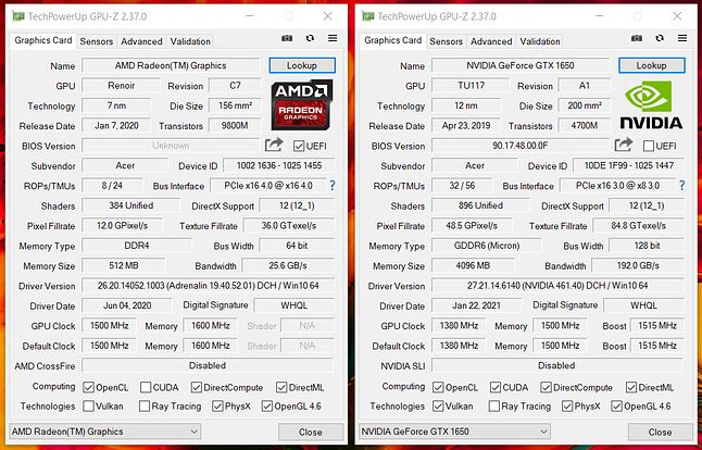 GPU-Z dla obu kart - integra vs nvidia