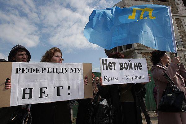 Manifestacja przeciwników referendum w Symferopolu
