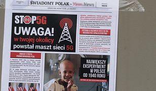 Gazetki o 5G na polskich ulicach. W środku numer konta do wpłat
