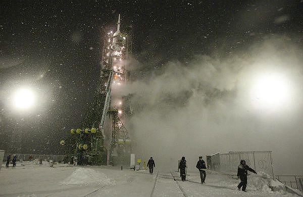 Kosmodrom Bajkonur w Kazachstanie, rosyjski statek kosmiczny Sojuz