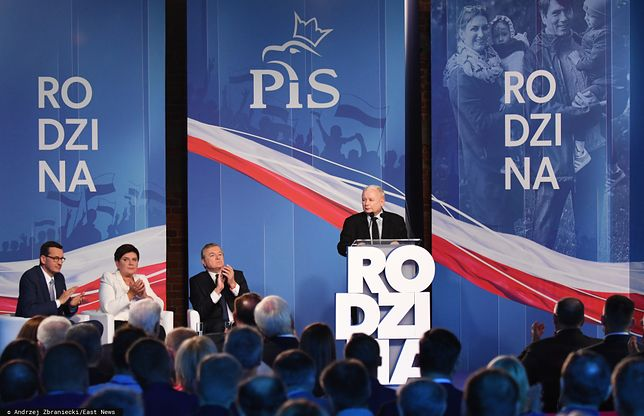 Prezes PiS Jarosław Kaczyński na konwencji wyborczej.