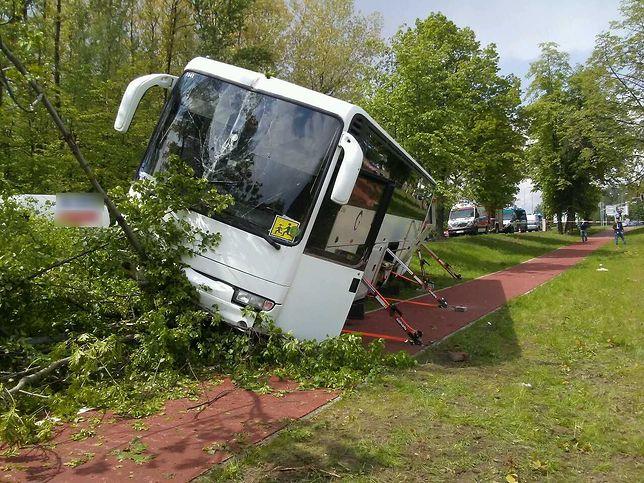 Autobus zjechał z drogi i zatrzymał się na ścieżce rowerowej