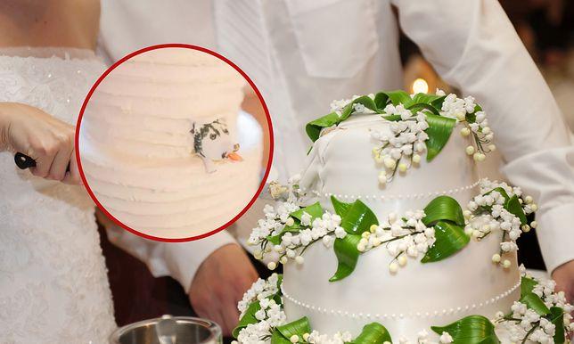 Tort weselny nie spodobał się pannie młodej