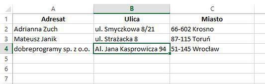 Baza adresowa w skoroszycie Excela