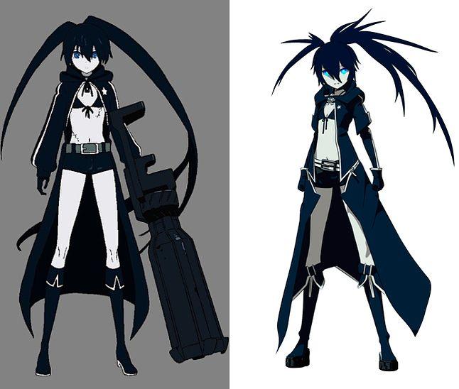 Po lewej - BRS z OVA; Po prawej - BRS z serii telewizyjnej. Za: http://blackrockshooter.wikia.com/wiki/Black%E2%98%85Rock_Shooter_(OVA)