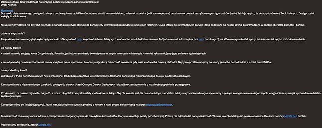 E-mail o takiej treści otrzymali klienci Grupy Morele