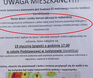 Mieszkańcy Justynowa są przeciwni budowy stacji tel. komórkowej