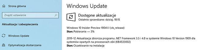 Windows 10 Insider Preview 19041.1 w Windows Update.