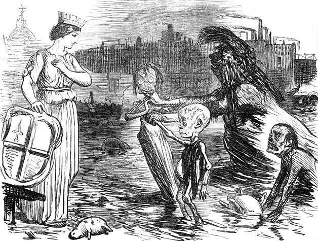 Karykatura przedstawiająca personifikację Tamizy prezentującą miastu Londyn swoje dzieci – błonicę, gruźlicę i cholerę
