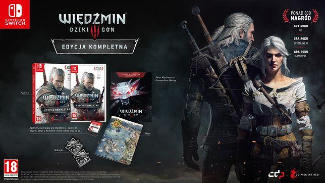 Zawartość pudełkowej polskiej edycji Wiedźmina 3 na Nintendo Switch.