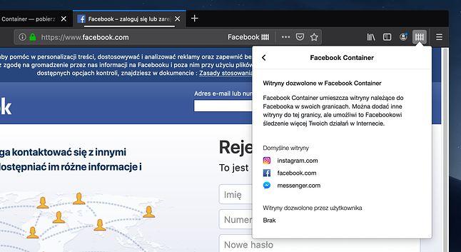 Lista adresów dozwolonych przez Facebook Container