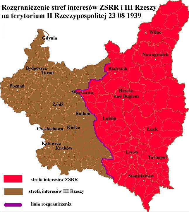 Podział Polski między ZSRR i III Rzeszę wg. tajnego protokołu paktu Ribbentrop-Mołotow