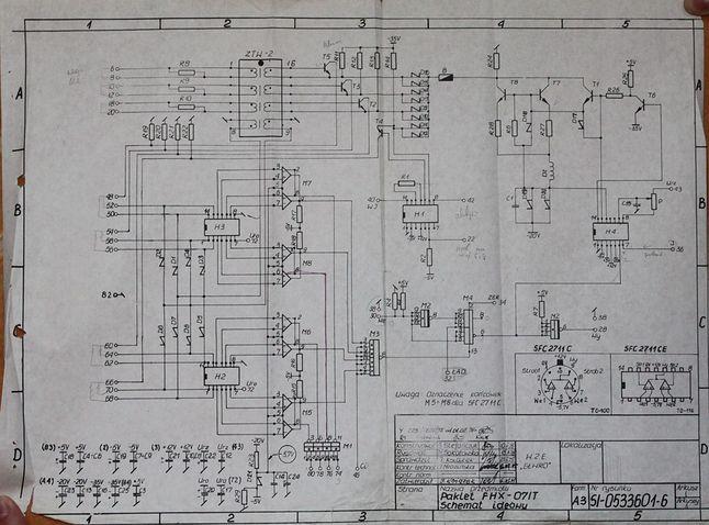 Schemat jednego z pakietów Odry 1305. Pakiet FHX-071T. W prawym dolnym rogu układ SFC2711CE (odpowiednik Texas Instruments SN72711.