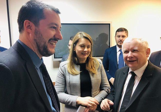 Matteo Salvini i Jarosław Kaczyński podczas spotkania w Warszawie.