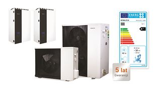 Pompy ciepła powietrze/woda (fot. typoszereg PCCO SPLIT firmy Hewalex w wersji z 2018 r.) mogą uzyskiwać identyczne klasy efektywności energetycznej jak pompy typu solanka/woda (gruntowe). Pozwalają spełnić wymagania WT 2017 stawiane projektowanym od 2017 r. budynkom jednorodzinnym.
