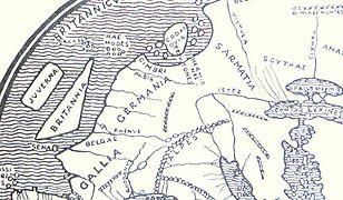 Fragment mapy Europy rzymskiego geografa Pomponiusza Meli. Enztuzjaści starożytnego pochodzenia Polski w widocznej na mapie Sarmatii widzą Imperium Lechitów