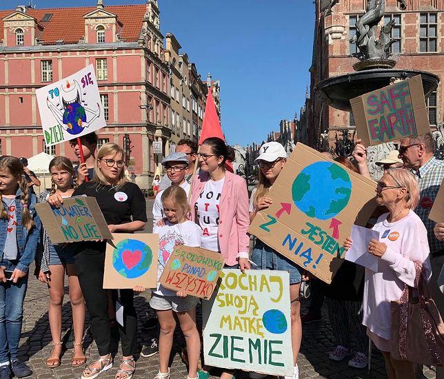 Magdalena Adamowicz i Aleksandra Dulkiewicz na proteście klimatycznym w Gdańsku