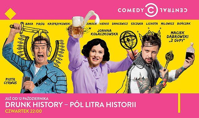 """Plakat promujący show  """"Drunk History – Pół litra historii"""""""
