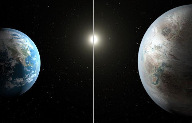Porównanie Ziemi i Keplera-452b - wizja artystyczna