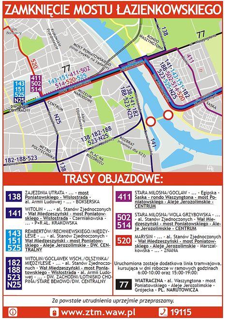 Zamknięty most Łazienkowski – zmiany w komunikacji [MAPA]